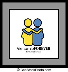 friends hug each other, deep relationship & bonding - vector...