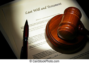 Last Will and Testament with legal gavel