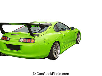 Cars Sports Car - Sports car green color on a white...