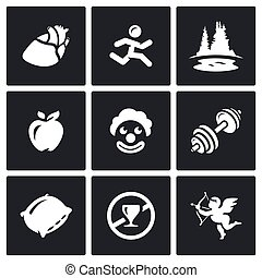 Vector Set of Long Life Icons. Pulse, Motion, Nature,...