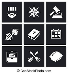 Vector Set of Prison Icons - Criminal, Thief-in-law,...