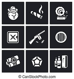 Vector Set of Gangster Icons. Mafia, Tobacco, Music, Finance, Weapon, Vehicle, Explosive, Jewelry, Trade.