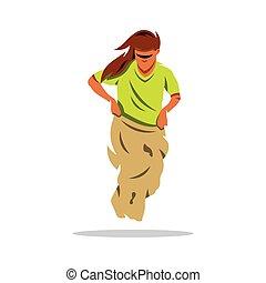 Vector Jumping Sack Cartoon Illustration.