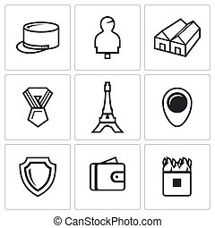 Vector Set of French Legion Icons Kepi, Target, Barracks,...