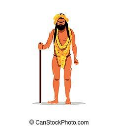 Vector Hindu man in Festival Kumbh Mela Cartoon...