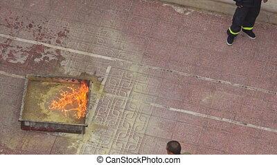 Fire Brigade Training Man Burns out Model Fire Plot - NHA...