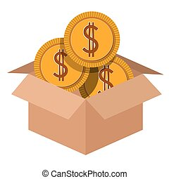 carton box with coins  isolated icon design