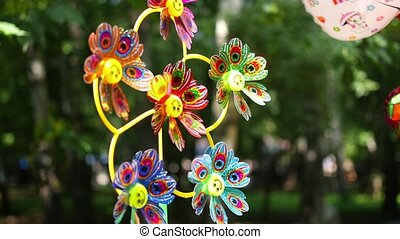 origami windmill Pinwheels and balloons in the park