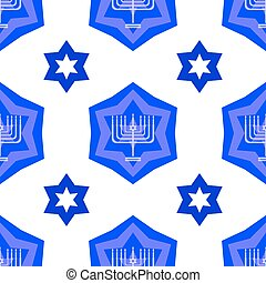 Blue David Star Seamless Background - Blue David Star...