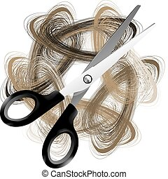 Scissor and hair
