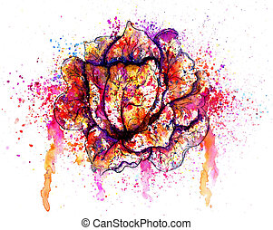Colorful Cabbage Watercolor - Watercolor art of grunge...