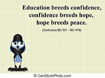 Education breeds confidence Chinese proverb on graph paper...