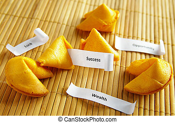 fortune cookies with opportunity, wealth, success messages