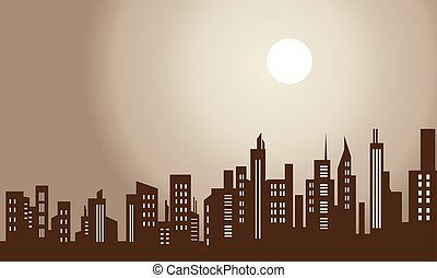 Silhouette of city and moon scenery