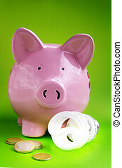 piggy bank with eficient light bulb and Euro coins