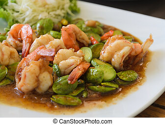 Shrimp stir-fried with stink beans and shrimp paste, Thai...