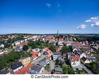 Aerial view Bergen auf Ruegen Germany town Mecklenburg...
