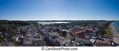 Beach Binz Island Ruegen Germany Mecklenburg aerial view...