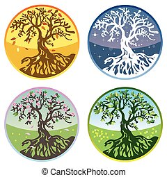 Vector tree in four seasons