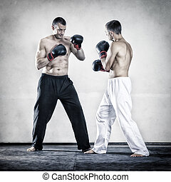 two men fighting boxing sports