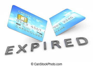 expired cut credit card - 3d rendering of an expired cut...