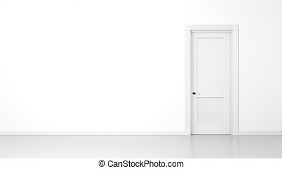 white wall and door background - 3D render of a white wall...