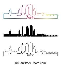 Austin skyline linear style with rainbow in editable vector...