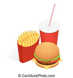 Vector illustration of isometric food burger, French fries and cola. Fast food concept. Tasty snack.
