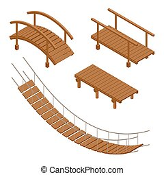 Hanging wooden bridge, wooden and hanging bridge vector...