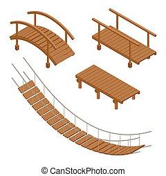 Hanging wooden bridge, wooden and hanging bridge vector...