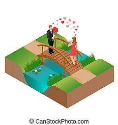 Pair of lovers on bridge. Romantic couple in love meeting. Love and celebrate concept. Man gives a woman a bouquet of roses. Romantic lovers dating. Vector flat 3d isometric illustration.