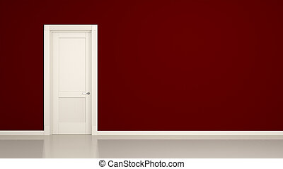 red wall and door background - 3D render of a red wall and a...