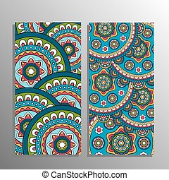 Vertical mandala ornament banner - Vertical banner decorated...