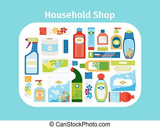 Household shop icon set - Household shop cleaning icon set...