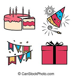 Birthday party celebration icons set Vector ilustration