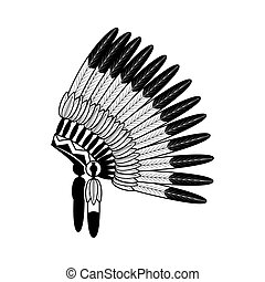 American Indian feathers war bonnet isolated on white Vector...