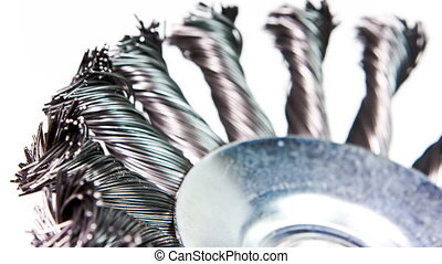wire brush for works on metal rotates, time lapse ,