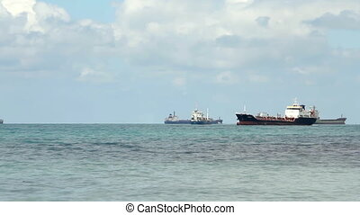 Oil tanker sailing in the sea