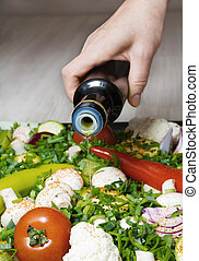 Prepared vegetables - Prepared in black pan with different...