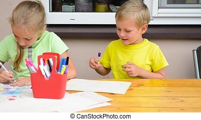 kids painting with pencils - two kids painting with pencils