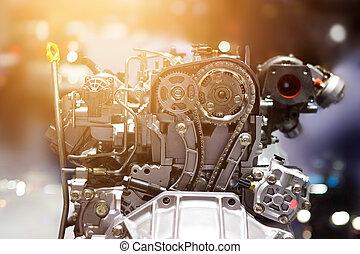 引擎, 概念, 鮮艷, 汽車, 金屬, 傷口, 部份