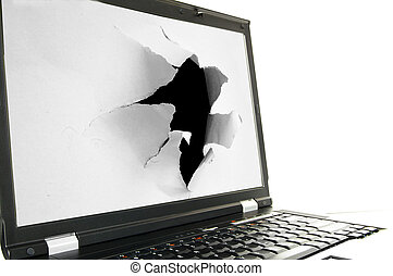 Side view of a laptop screen with a torn hole