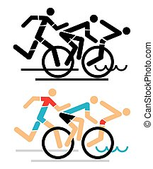 Triathlon icons race - Three triathlon athletes icon, black...