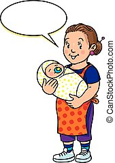 Funny mother or nanny with baby - Children vector...