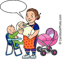 Funny mother or nanny with children. - Children vector...