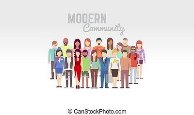 Modern community animation on white - Modern community...