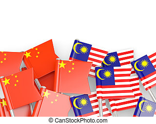 Flags of China and Malaysia isolated on white 3D...