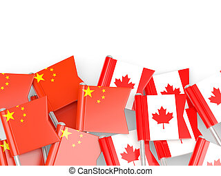 Flags of China and Canada isolated on white 3D illustration
