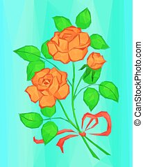 Red and Orange Rose Flowers, Low Poly