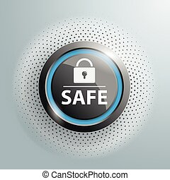 Button DLock Safe Halftone - Button with text Safe and DLock...
